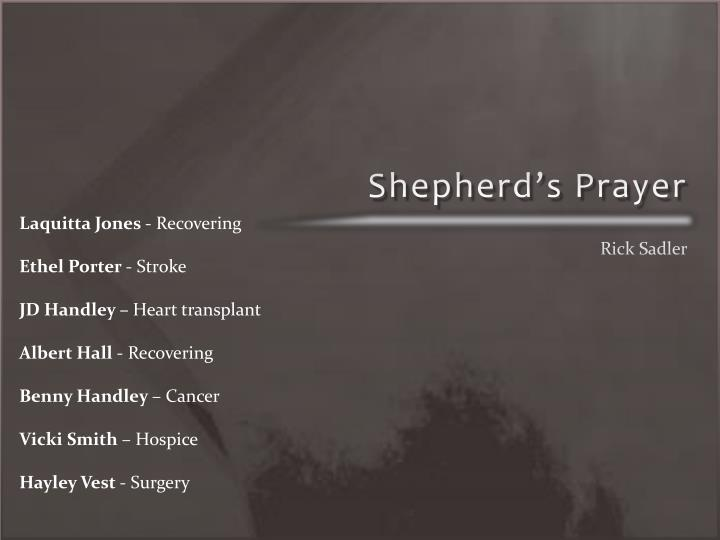 Shepherd's Prayer