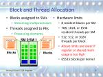 block and thread allocation