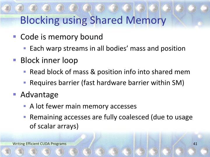 Blocking using Shared Memory