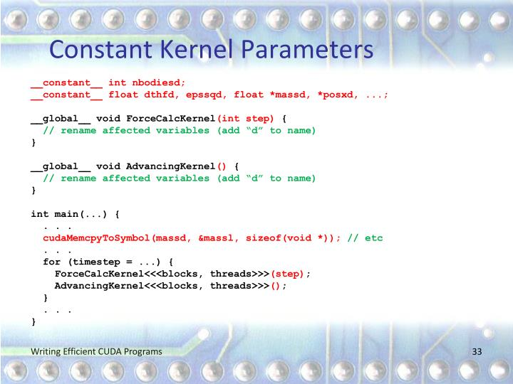 Constant Kernel Parameters