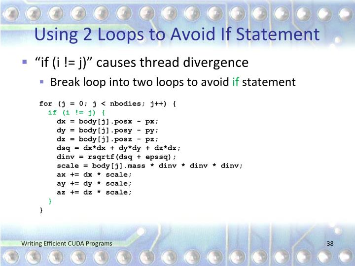 Using 2 Loops to Avoid If Statement