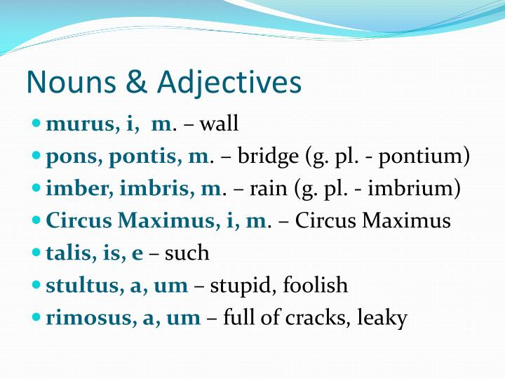 Nouns adjectives