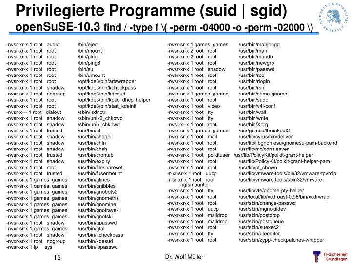 Privilegierte Programme (