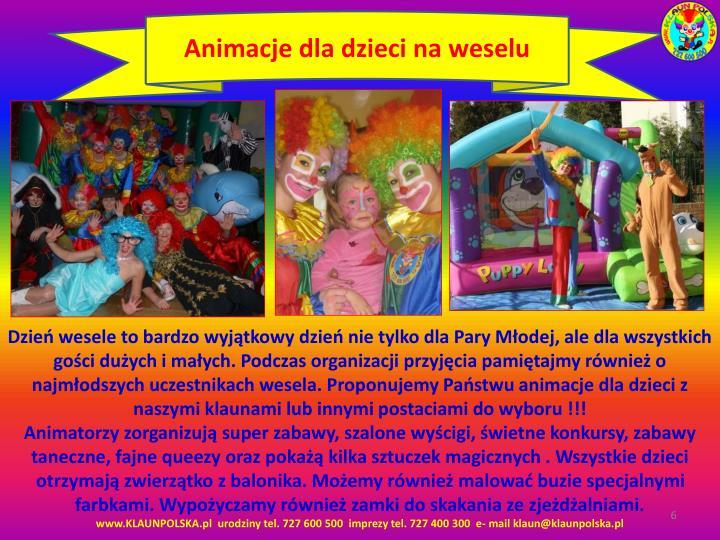 Animacje dla dzieci na weselu