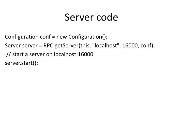 Server code