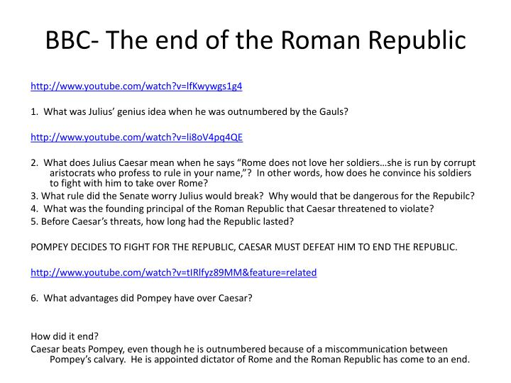 BBC- The end of the Roman Republic