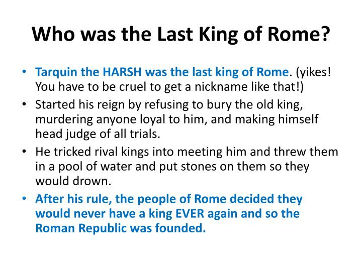 Who was the Last King of Rome?
