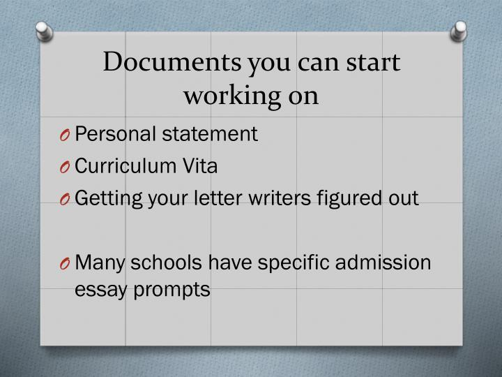 Documents you can start working on