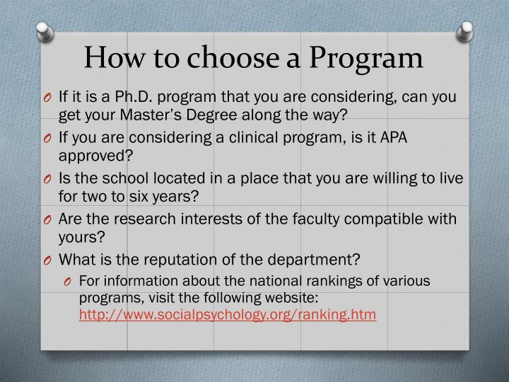 How to choose a Program