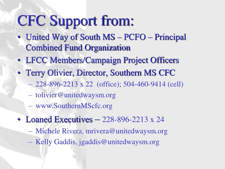 CFC Support from: