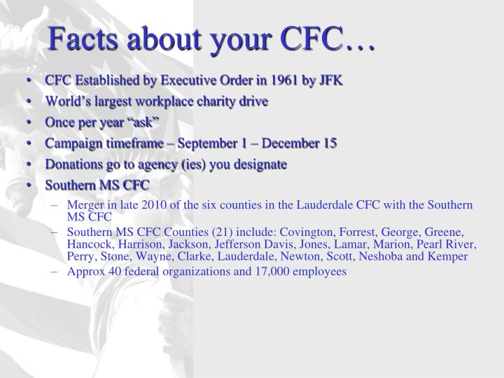 Facts about your CFC…