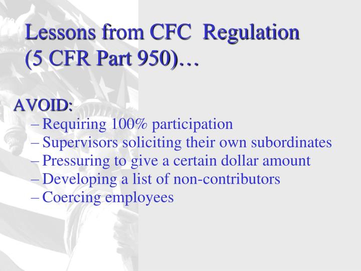Lessons from CFC  Regulation