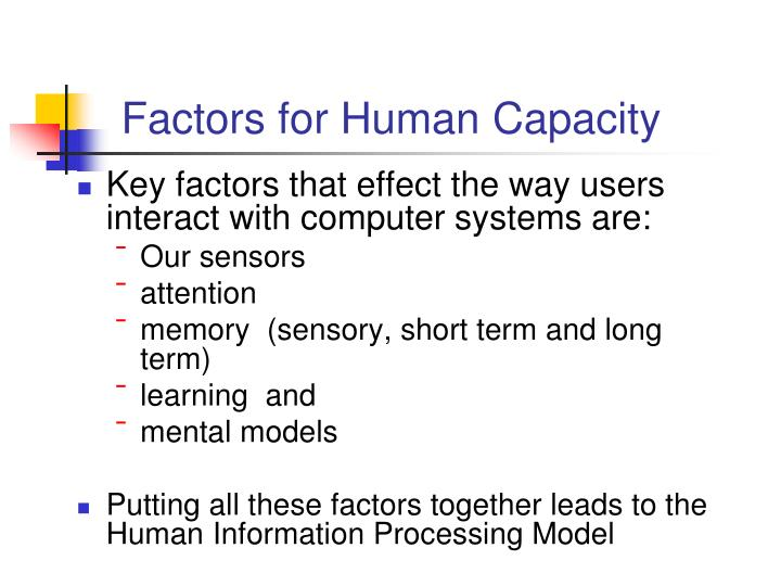 Factors for Human Capacity