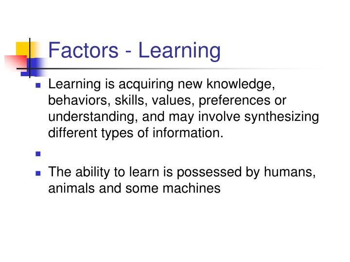 Factors - Learning