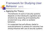 framework for studying user behavior con t