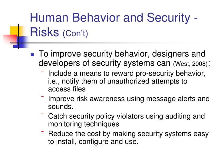 Human Behavior and Security - Risks