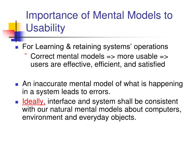 Importance of Mental Models to Usability