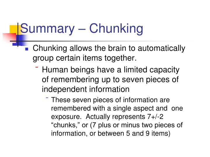 Summary – Chunking