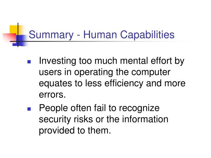 Summary - Human Capabilities