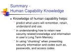 summary human capability knowledge