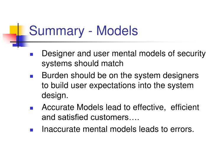 Summary - Models