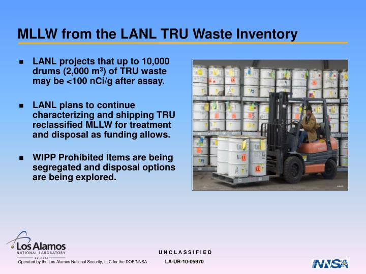 MLLW from the LANL TRU Waste Inventory