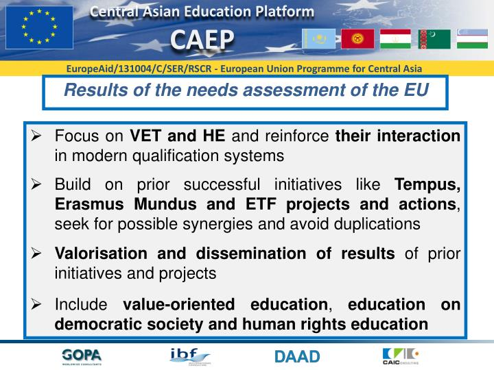 Results of the needs assessment of the EU
