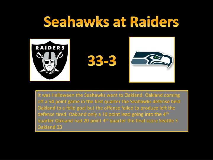 Seahawks at Raiders