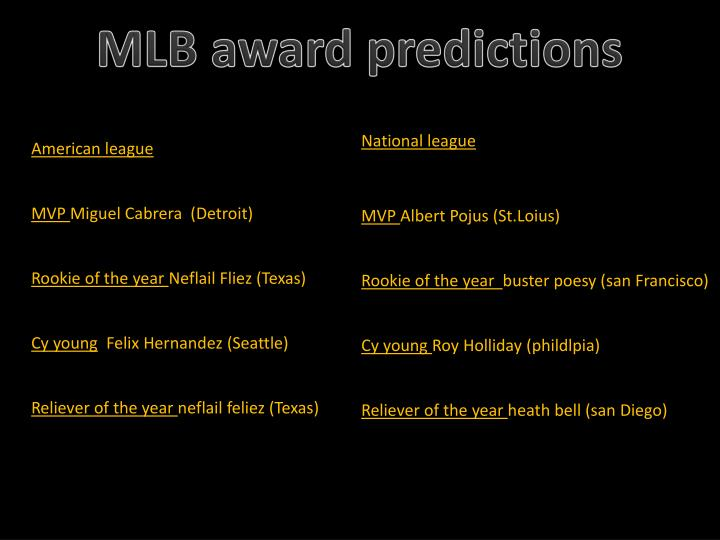 MLB award predictions