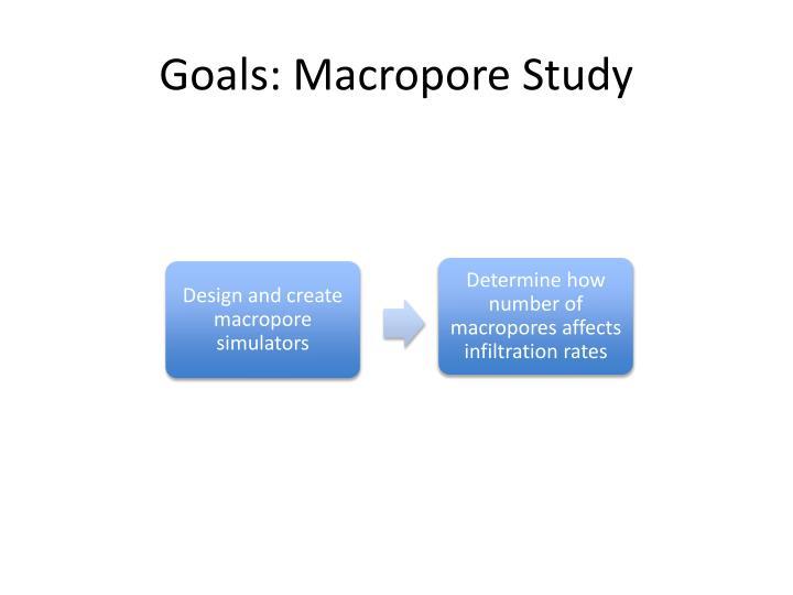 Goals: Macropore Study