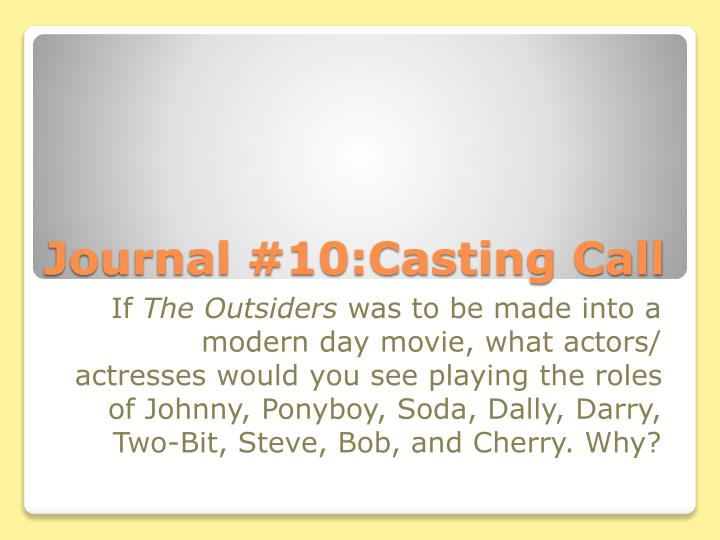 Journal #10:Casting Call