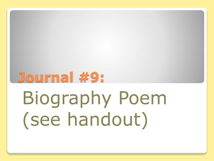 Journal #9: