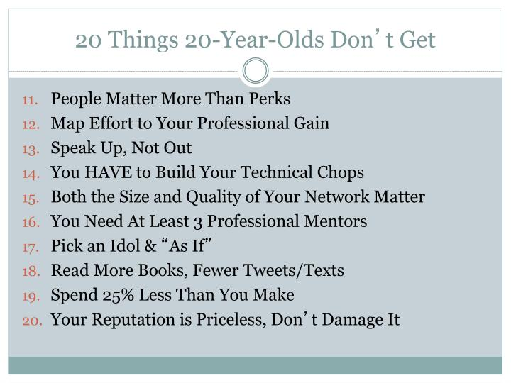 20 Things 20-Year-Olds Don