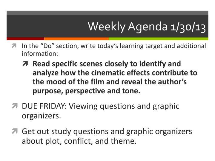Weekly Agenda 1/30/13