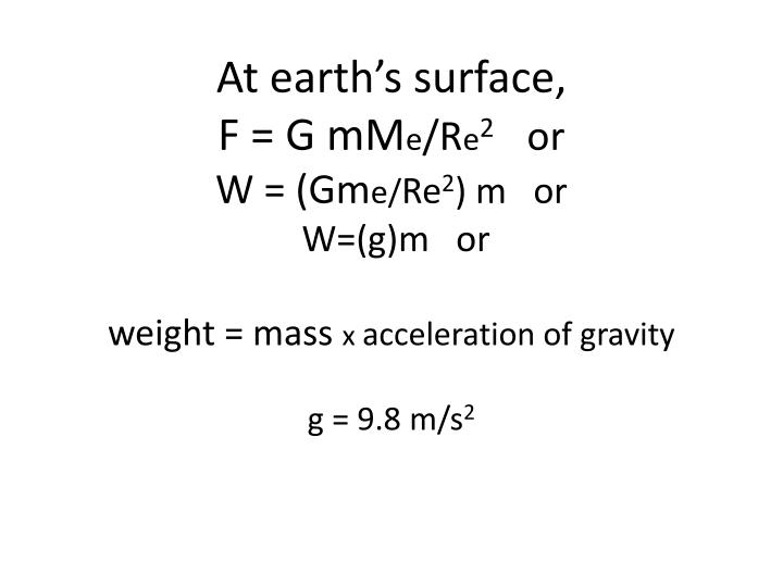 At earth's surface,