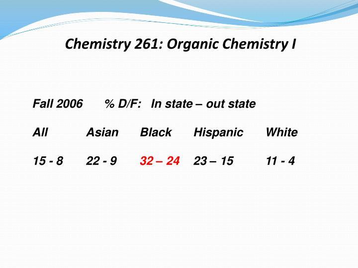 Chemistry 261: Organic Chemistry I