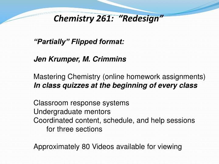 "Chemistry 261:  ""Redesign"""