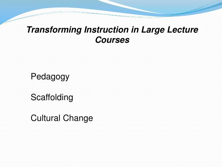 Transforming instruction in large lecture courses1