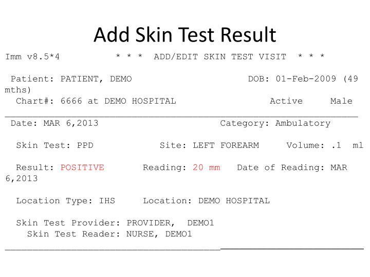 Add Skin Test Result