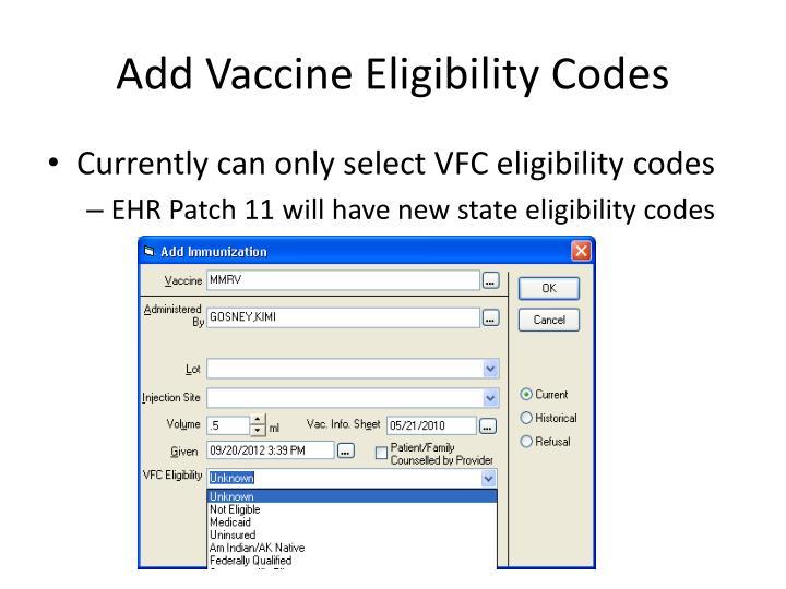 Add Vaccine Eligibility Codes