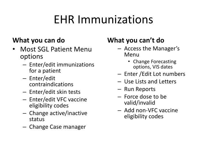 EHR Immunizations