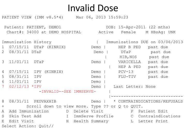 Invalid Dose