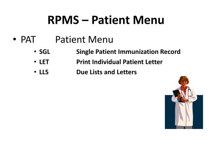 RPMS – Patient Menu