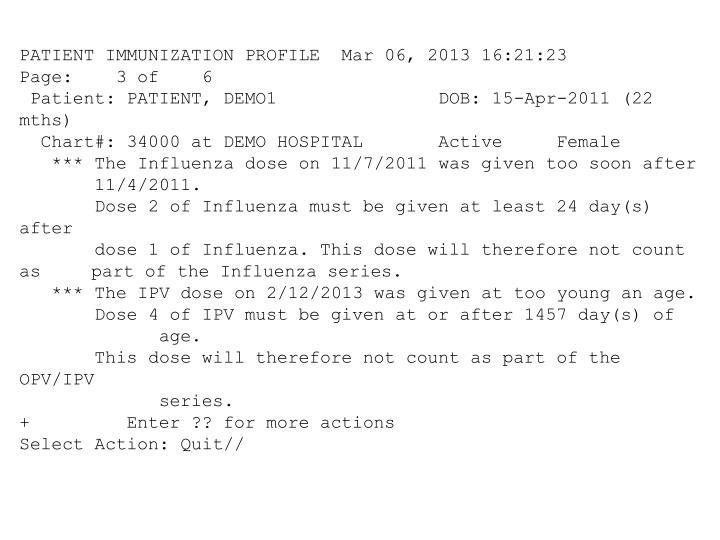 PATIENT IMMUNIZATION PROFILE  Mar 06, 2013 16:21:23          Page:    3 of    6