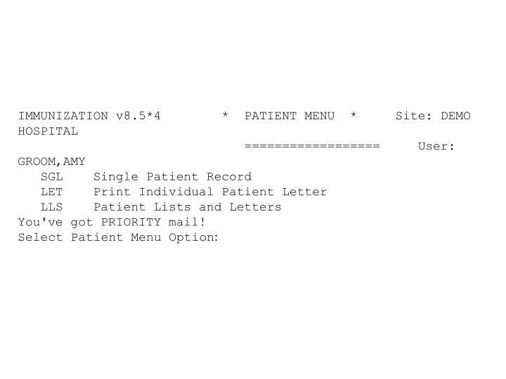IMMUNIZATION v8.5*4        *  PATIENT MENU  *     Site: DEMO HOSPITAL
