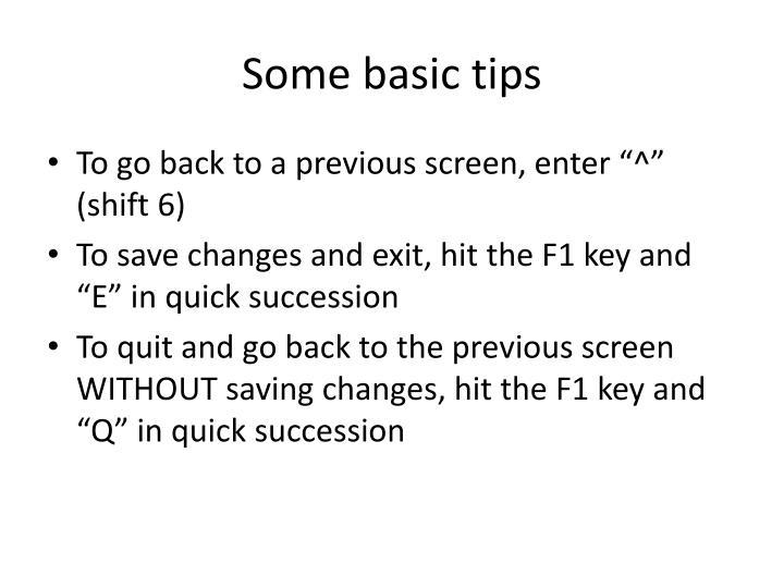 Some basic tips