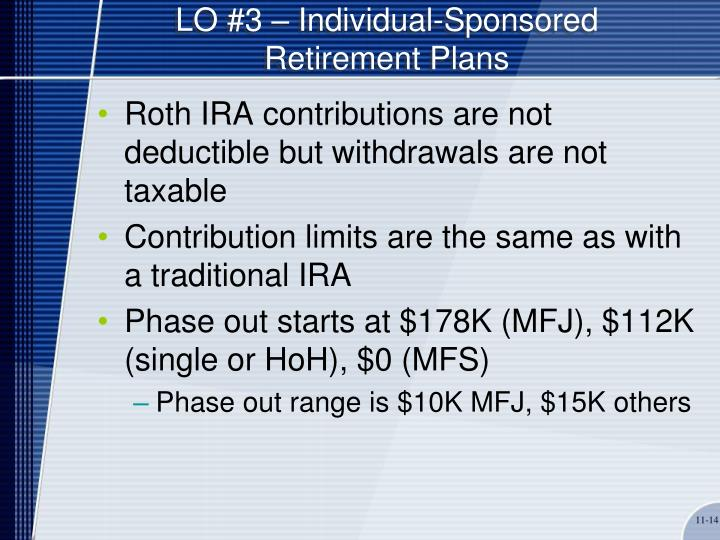 LO #3 – Individual-Sponsored Retirement Plans