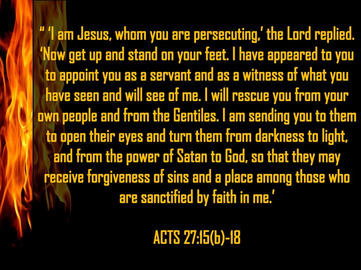 """ 'I am Jesus, whom you are persecuting,' the Lord replied."