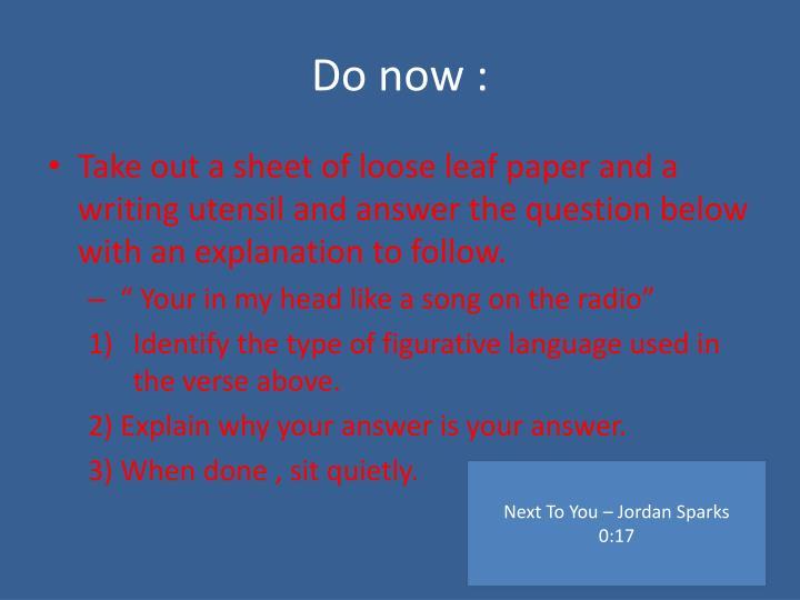 Do now :