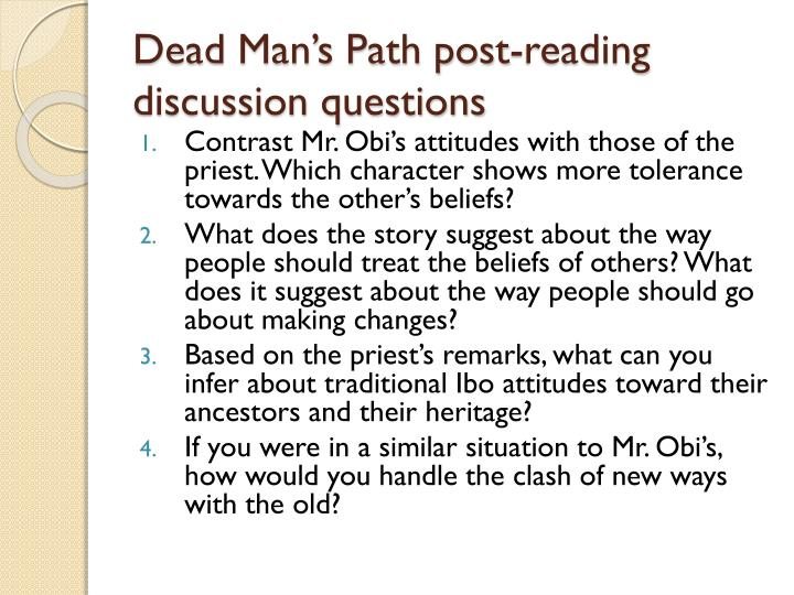Dead Man's Path post-reading discussion questions